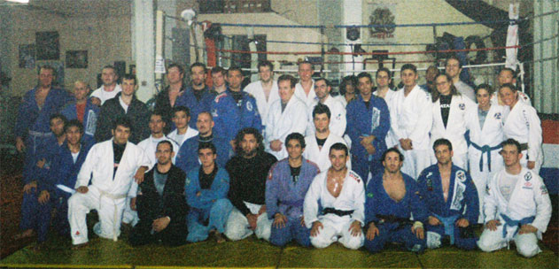 Grainy picture of the gi group for Marcelo Garcia's seminar