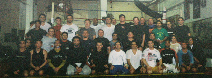 Grainy picture of the no-gi group for Marcelo Garcia's seminar